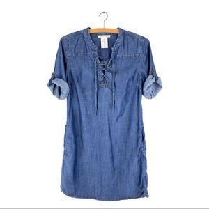 PHILOSOPHY Chambray Dress Roll Tab Sleeve Lace Up